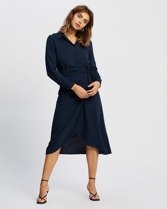 Atmos & Here Atmos&Here - Women's Navy Midi Dresses - Harlow Linen Blend Midi Dress - Size 6 at The Iconic
