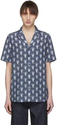 Neil Barrett Black and Navy Bowling Shirt