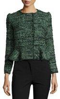 Rebecca Taylor Textured Tweed Peplum Jacket, Green/Black