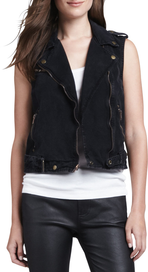 Current/Elliott Sleeveless Denim Moto Vest