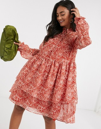 Y.A.S smock dress with tie neck in red paisley floral