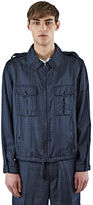 Lanvin Men's Geometric Jacquard Collared Jacket In Blue