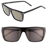 Saint Laurent Women's Avana 56Mm Flat Top Sunglasses - Black