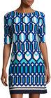 Eliza J-eliza j halfsleeve geometricprint shift dress blue pattern