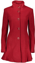 Kensie Red Wool-Blend Flare Coat