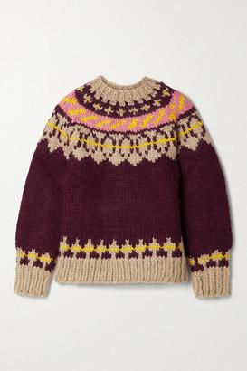 Tory Burch Fair Isle Wool Sweater - Burgundy
