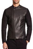 Vince Leather-Paneled Wool Moto Jacket