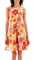 JCPenney Danny & Nicole Sleeveless Floral Print Textured-Skirt Dress