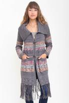 Goddis Amalia Long Fringe Knit Jacket In Oakwood