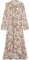 Maje Asymmetric Pussy-bow Floral-print Crepe Midi Dress - 3