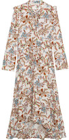 Maje Asymmetric Pussy-bow Floral-print Crepe Midi Dress - Beige