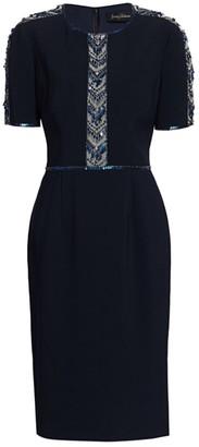 Jenny Packham Carlene Beaded Stretch Crepe Dress