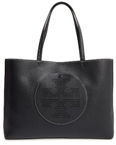 Tory Burch Perforated Logo Leather Tote - Black