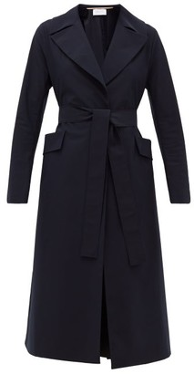 Harris Wharf London Single-breasted Belted Shell Coat - Navy