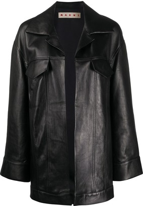 Marni Open Front Leather Coat