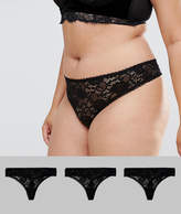 Asos 3 Pack Deep Side Lace Thong
