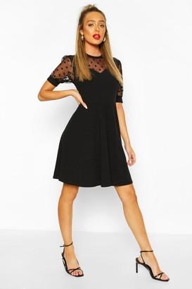 boohoo Soft Rib & Spot Mesh Frill Detail Skater Dress