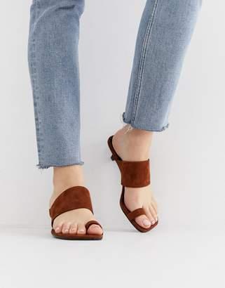 Vagabond polly brown suede toe strap kitten heel sandals