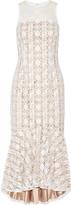 Mikael Aghal Pleated embroidered tulle midi dress