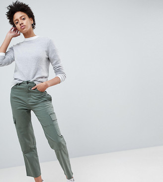 ASOS DESIGN straight leg stretch pants with pockets in light khaki