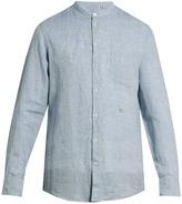 Massimo Alba Noto granddad-collar striped linen shirt