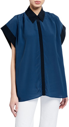 7 For All Mankind Draped-Shoulder Top with Contrast Cuffs