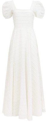 LoveShackFancy Ryan Floral-embroidedered Cotton Maxi Dress - Ivory