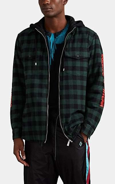 Marcelo Burlon County of Milan Men's Plaid Flannel Hooded Shirt Jacket - Green