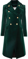 Pierre Balmain Cotton-blend Velvet Double-breasted Coat - Emerald