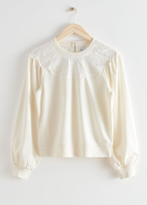 And other stories Embroidered Voluminous Sleeve Sweater