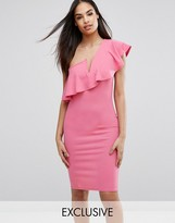 Club L One-Shoulder Frill Dress