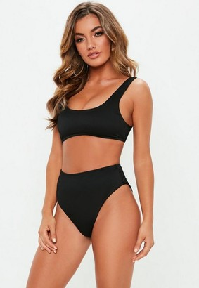 Missguided Black Mix And Match Ribbed Bikini Top