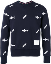 Thom Browne fish print sweatshirt - men - Cotton/Cupro - 0