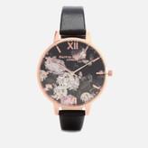 Olivia Burton Women's Winter Garden Hydrangea Watch - Black/Rose Gold