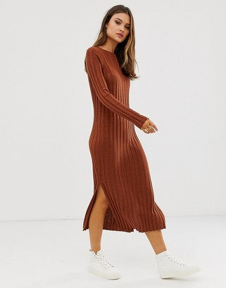 Asos Design DESIGN fine knit ribbed midi dress in recycled blend-Brown