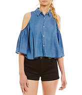 GB Cold Shoulder Button-Front Chambray Top