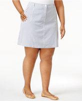 Karen Scott Plus Size Striped Skort, Created for Macy's