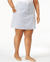 Karen Scott Plus Size Striped Skort, Only at Macy's