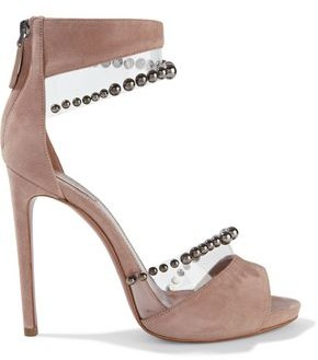 Alaia Pvc-trimmed Studded Suede Sandals