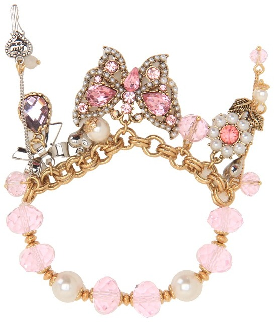 Betsey Johnson Heart and Bow Butterfly Half Stretch Bracelet (Pink) - Jewelry