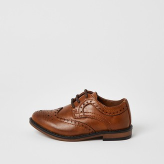 River Island Mini boys brown embossed lace-up brogues