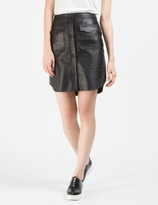 Opening Ceremony Black Leather Button Down Skirt