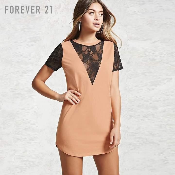 Forever 21 (フォーエバー 21) - Forever 21 レースTシャツワンピース