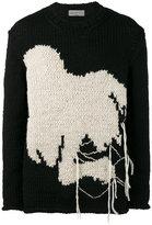Yohji Yamamoto Intarsia oversized knitted jumper - men - Wool - 3