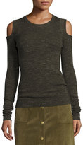 Current/Elliott The Melange Cold-Shoulder Sweater, Moss Green