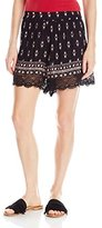 Angie Women's Black Printed Lace Trimmed Shorts