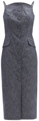Carolina Herrera Curved-neck Denim Midi Dress - Denim