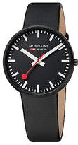 Mondaine A6603032864sbb Unisex Evo Giant Leather Strap Watch, Black