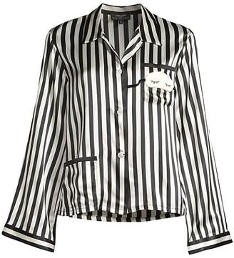 Morgan Lane Striped Silk Pajama Top