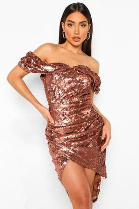 boohoo Sequin Draped Sleeve Rouced Midi Dress